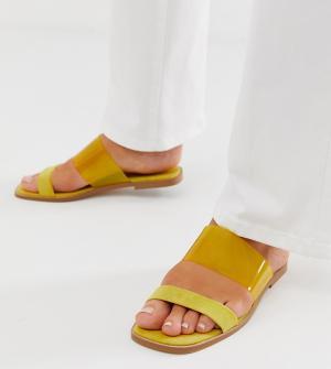 Сандалии для широкой стопы с прозрачным ремешком Flirt ASOS DESIGN. Цвет: желтый