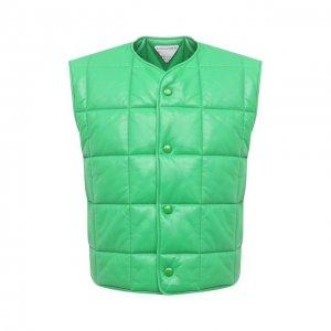 Кожаный жилет Bottega Veneta. Цвет: зелёный