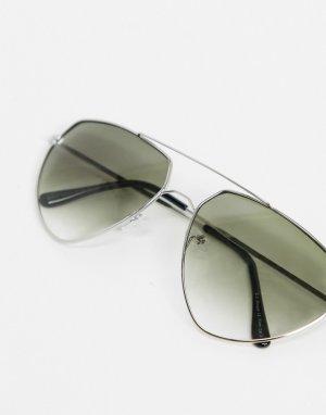 Серебристые солнцезащитные очки-авиаторы -Серебристый AJ Morgan
