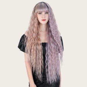 Натуральный длинный вьющийся парик с челкой SHEIN. Цвет: многоцветный