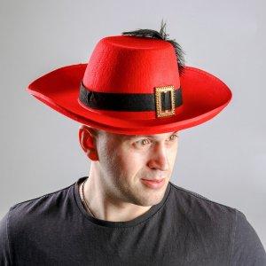 Карнавальная шляпа с пером и лентой, р-р. 56-58, цвет красный Страна Карнавалия