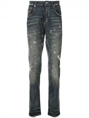 Зауженные джинсы средней посадки Purple Brand. Цвет: синий