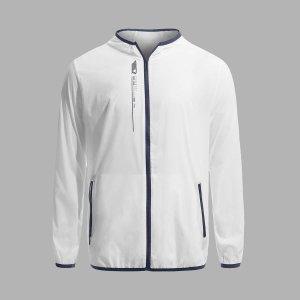 Мужской Спортивная куртка контрастной отделкой на молнии SHEIN. Цвет: белый