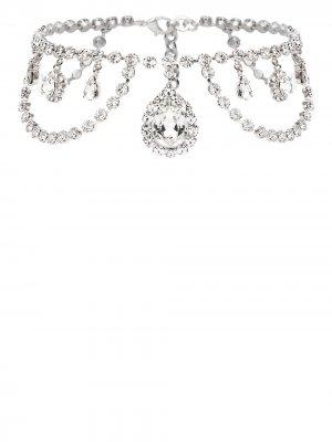 Чокер с кристаллами Alessandra Rich. Цвет: серебристый