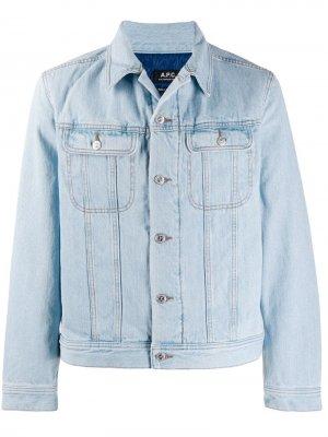 Утепленная джинсовая куртка A.P.C.. Цвет: синий