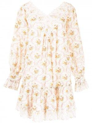 Платье мини с V-образным вырезом и цветочным принтом byTiMo. Цвет: белый