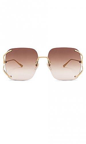 Солнцезащитные очки rectangle fork Gucci. Цвет: коричневый