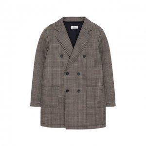 Двубортное пальто Paolo Pecora Milano. Цвет: коричневый