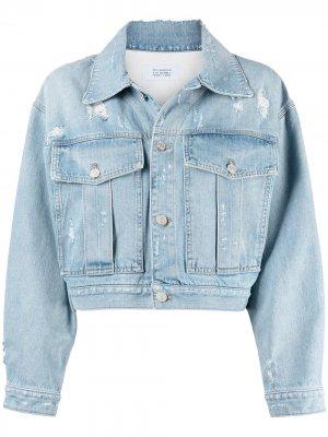 Укороченная джинсовая куртка с эффектом потертости Givenchy. Цвет: синий