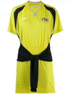 Спортивное платье с завязками спереди T By Alexander Wang. Цвет: желтый
