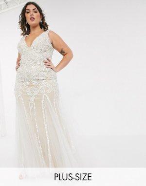 Платье с глубоким вырезом и отделкой -Белый Jovani