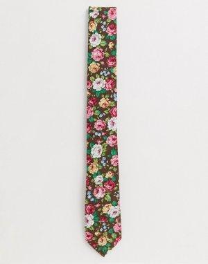 Набор из галстука и булавки на лацкан пиджака с цветком -Розовый цвет Ben Sherman