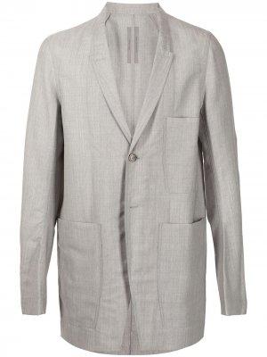 Однобортный пиджак Rick Owens. Цвет: серый