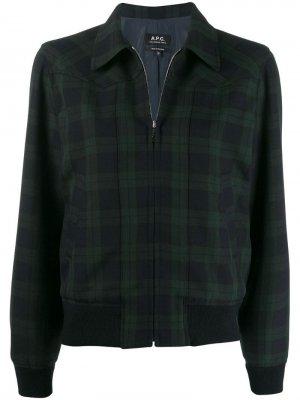 Куртка-бомбер в шотландскую клетку A.P.C.. Цвет: синий