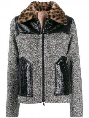 Твидовая куртка с узором в елочку Nº21. Цвет: серый