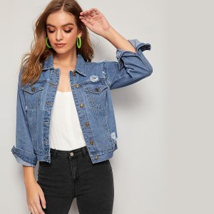 Рваная джинсовая куртка с карманом SHEIN. Цвет: синий