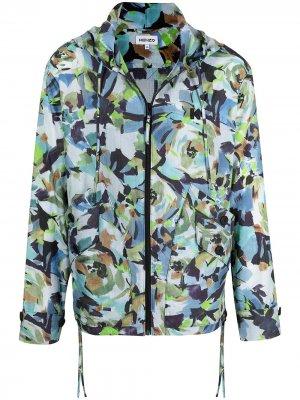 Куртка с капюшоном и абстрактным принтом Kenzo. Цвет: разноцветный