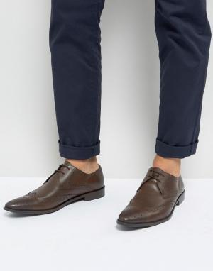 Коричневые кожаные броги Frank Wright. Цвет: коричневый