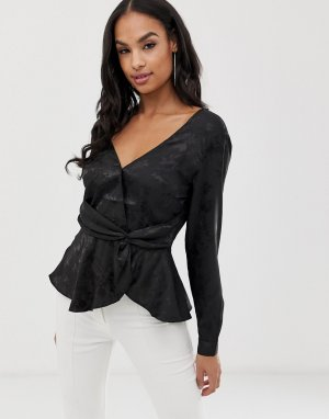Жаккардовая блузка-блейзер -Черный Lipsy
