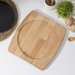 Подставка для сковороды доляна, 32×26×1,8 см, внутренний диаметр d=24 с потайными ручками, берёза Доляна