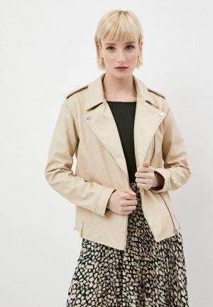 Куртка кожаная Ostin O'stin. Цвет: бежевый