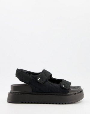 Стеганные спортивные сандалии черного цвета -Черный цвет Bershka