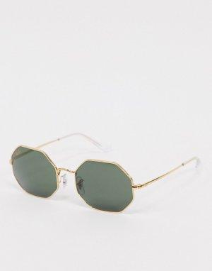Солнцезащитные очки с линзами шестиугольной формы в золотистой оправе Rayban-Золотой Ray-Ban
