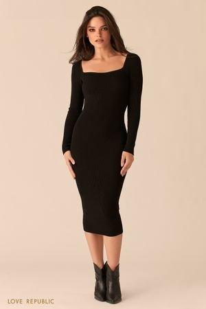 Черное облегающее платье миди с фигурным вырезом каре LOVE REPUBLIC