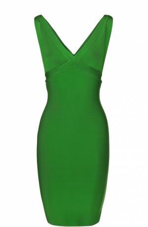 Облегающее мини-платье с V-образным вырезом Herve L.Leroux. Цвет: зеленый