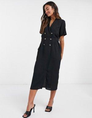 Черное повседневное платье миди -Черный цвет ASOS DESIGN