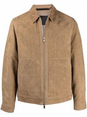 Кожаная куртка-рубашка Theory. Цвет: коричневый