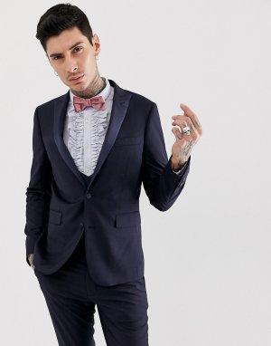 Приталенный пиджак от смокинга -Темно-синий Devils Advocate