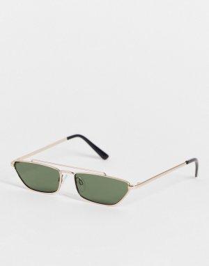 Солнцезащитные очки в стиле унисекс металлической золотистой оправе с плоской планкой -Золотистый AJ Morgan