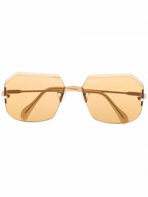 Солнцезащитные очки в безободковой оправе Cazal. Цвет: золотистый