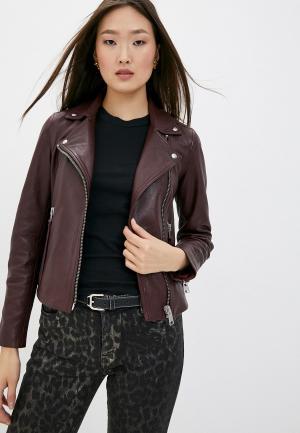 Куртка кожаная AllSaints. Цвет: бордовый