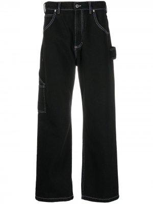 Широкие джинсы PACCBET. Цвет: черный
