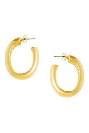 Золотистые незамкнутые серьги-кольца Aqua. Цвет: золотой