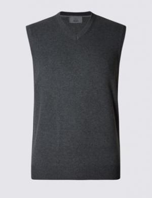 Жилет из чистого хлопка M&S Collection. Цвет: темный серый