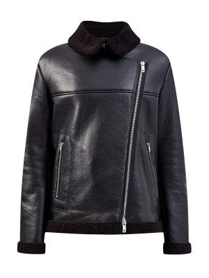 Утепленная куртка в байкерском стиле из зернистой эко-кожи ICE PLAY. Цвет: черный