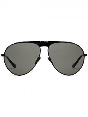 Солнцезащитные очки-авиаторы с логотипом Gucci Eyewear. Цвет: черный