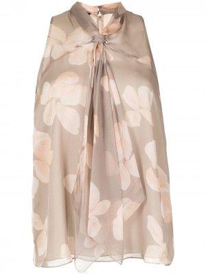 Блузка без рукавов с цветочным принтом Emporio Armani. Цвет: коричневый