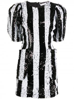 Коктейльное платье в полоску с пайетками ROTATE. Цвет: черный