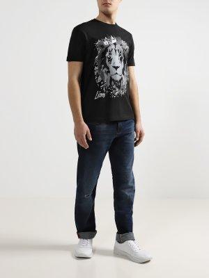 Мужские рваные джинсы J16 Armani Exchange. Цвет: siniy