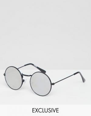 Круглые солнцезащитные очки с зеркальными стеклами inspired Reclaimed Vintage. Цвет: черный