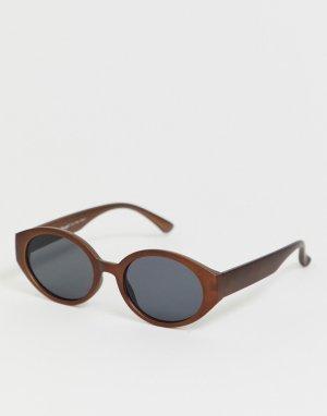 Солнцезащитные очки кошачий глаз в оправе бронзового цвета AJ Morgan. Цвет: коричневый
