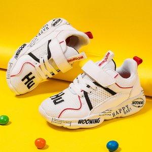 Кроссовки с текстовым принтом и нейлоновыми ремнями для мальчиков SHEIN. Цвет: бежевые