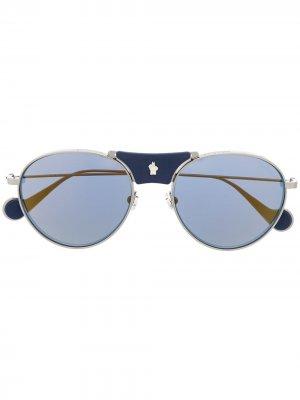 Солнцезащитные очки в круглой оправе Moncler Eyewear. Цвет: серебристый