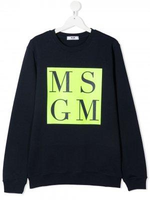 Толстовка с логотипом Msgm Kids. Цвет: синий