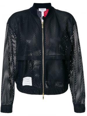 Сетчатая куртка-бомбер Thom Browne. Цвет: синий