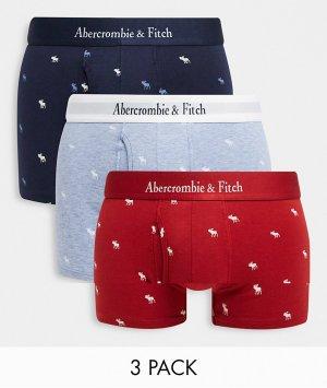 Набор из 3 боксеров-брифов красного, синего и черного цвета со сплошным принтом логотипа фирменным поясом -Многоцветный Abercrombie & Fitch